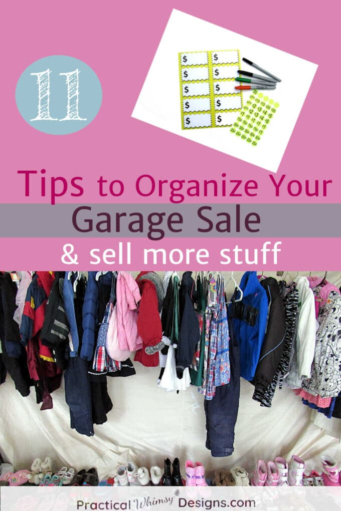 11 tips to help you organize your garage sale and; sell more stuff: labels and hanging clothes