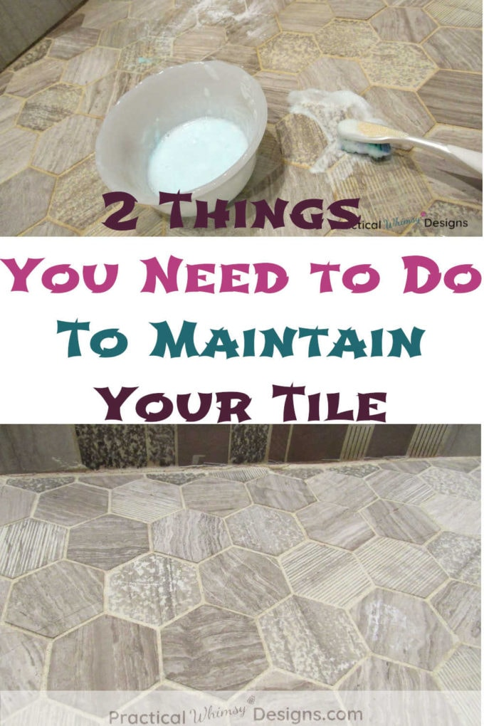 How to clean grout: pictures of clean and dirty tile grout.