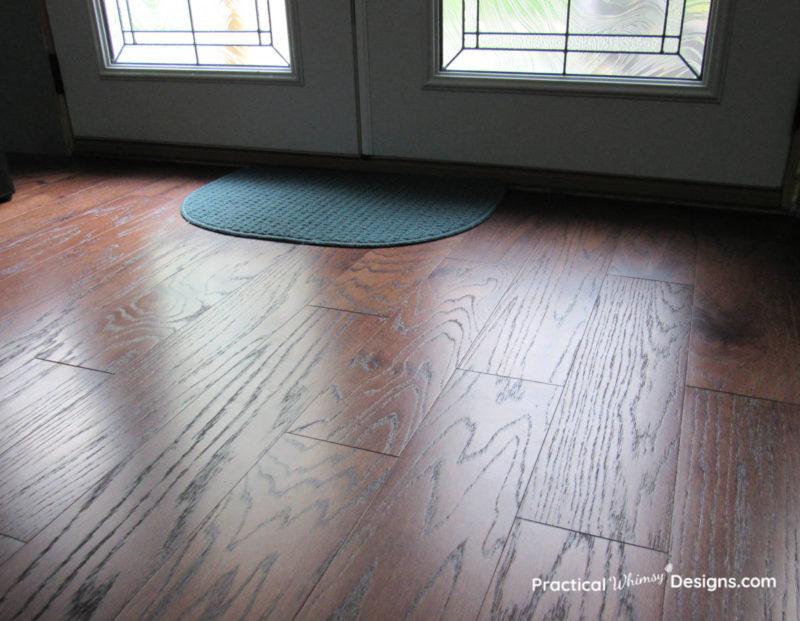 Engineered hardwood floor with glass door