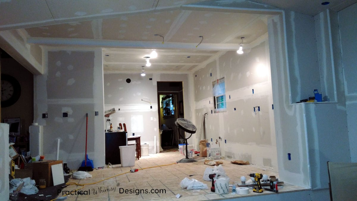 Kitchen with drywall on walls