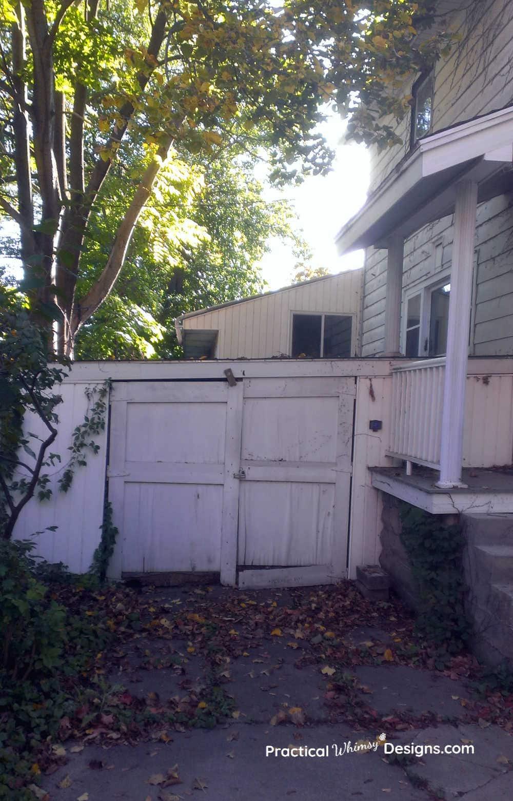 Small, rundown attached garage