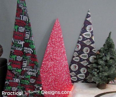 Cardboard Christmas Trees Wrapped with paper