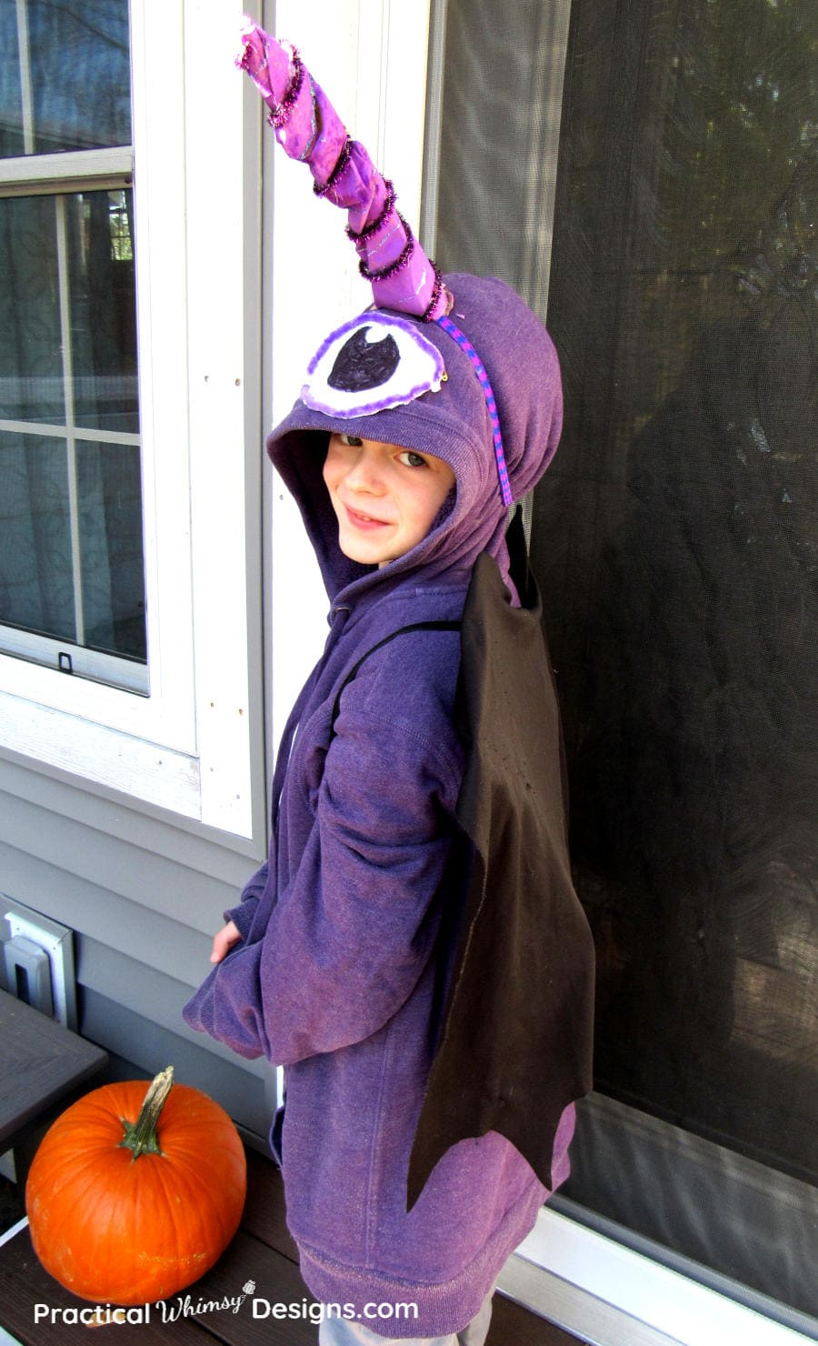 Flying purple people eater costume