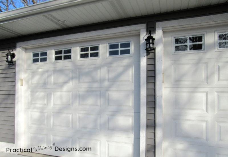 White garage doors and lights