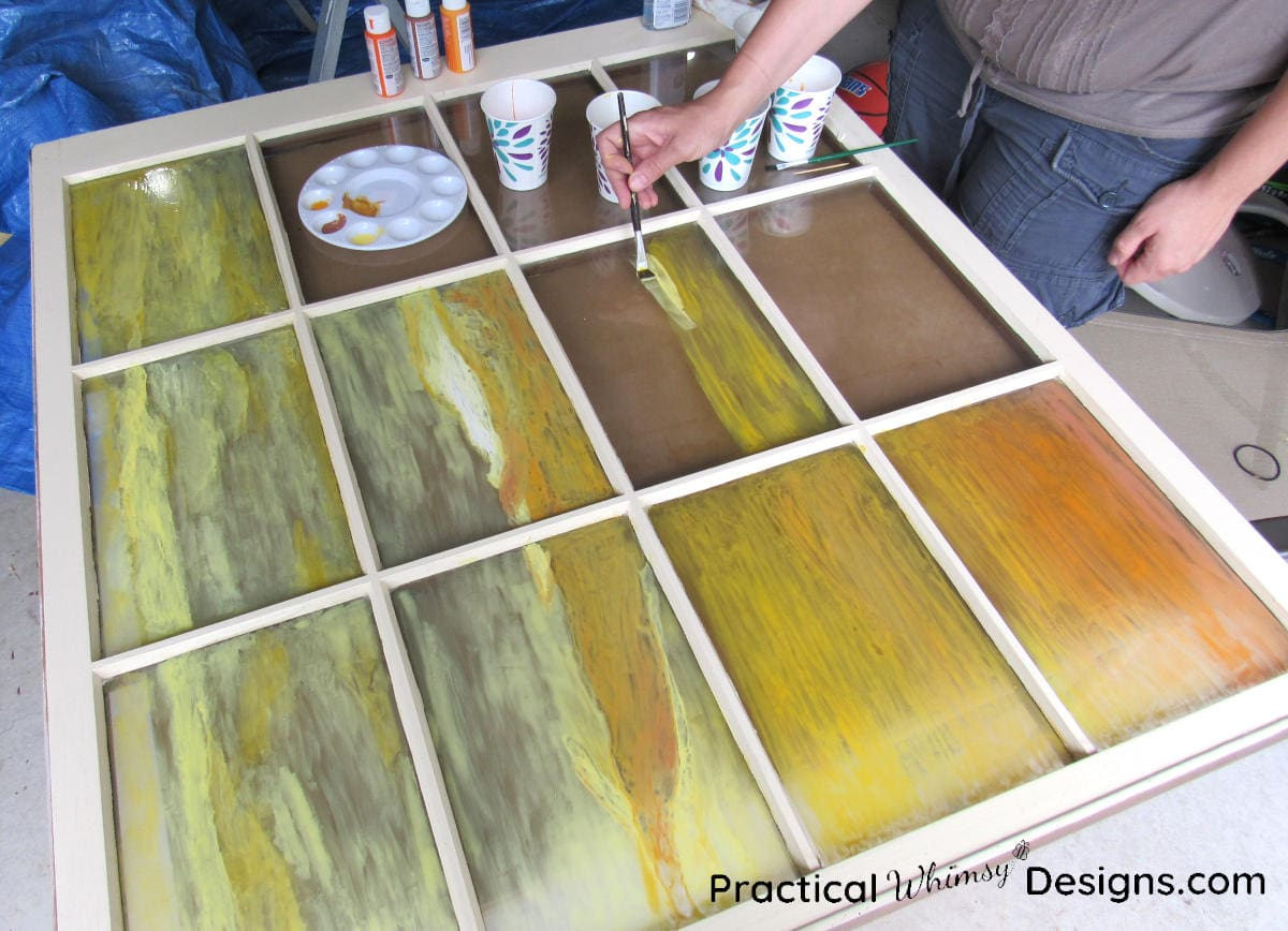 Painting stained glass silhouette window art