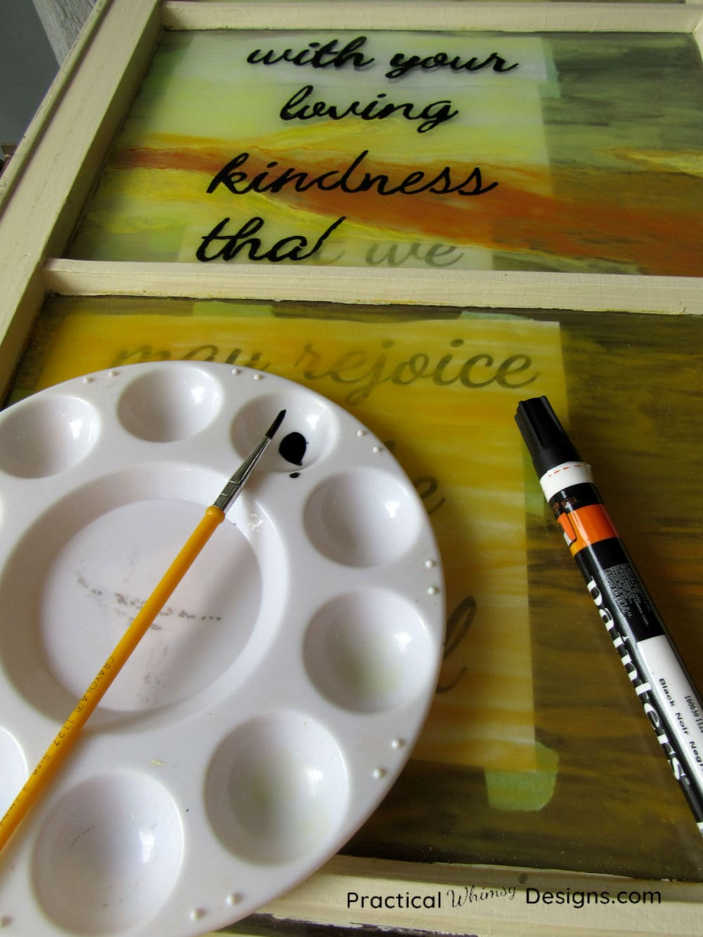 Painting words on glass with paint marker
