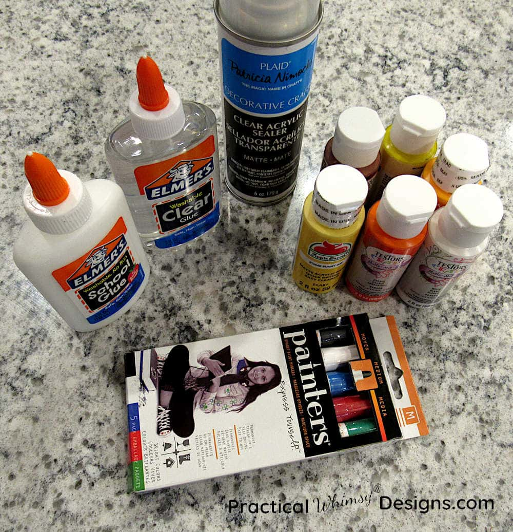 Acrylic paint and school glue