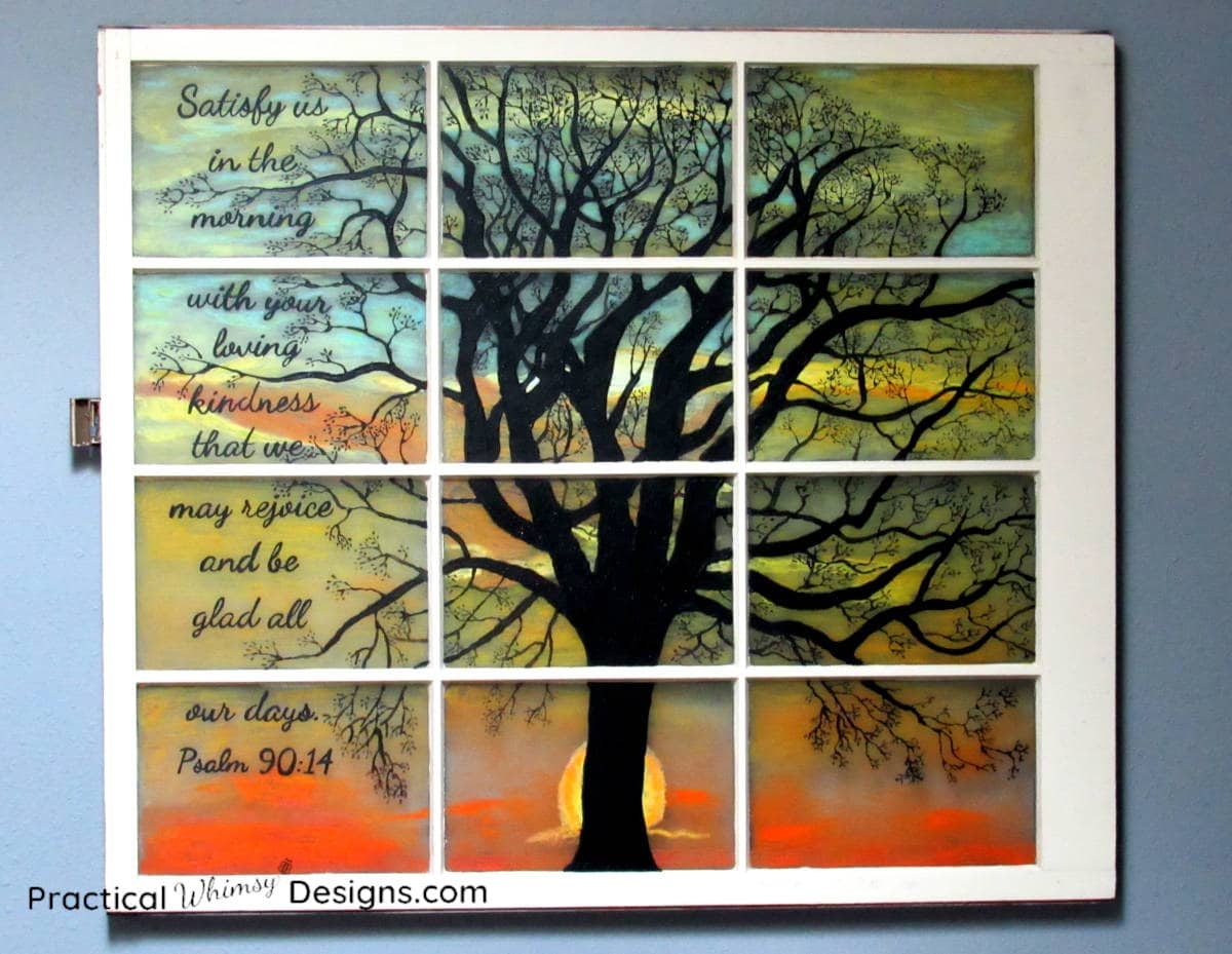 Tree silhouette and verse on sunrise painting