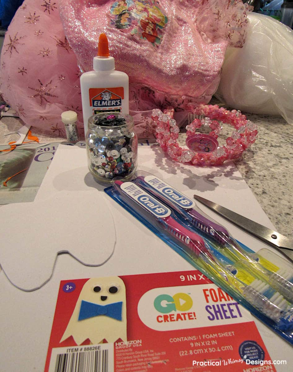 Supplies to make a tooth fairy costume