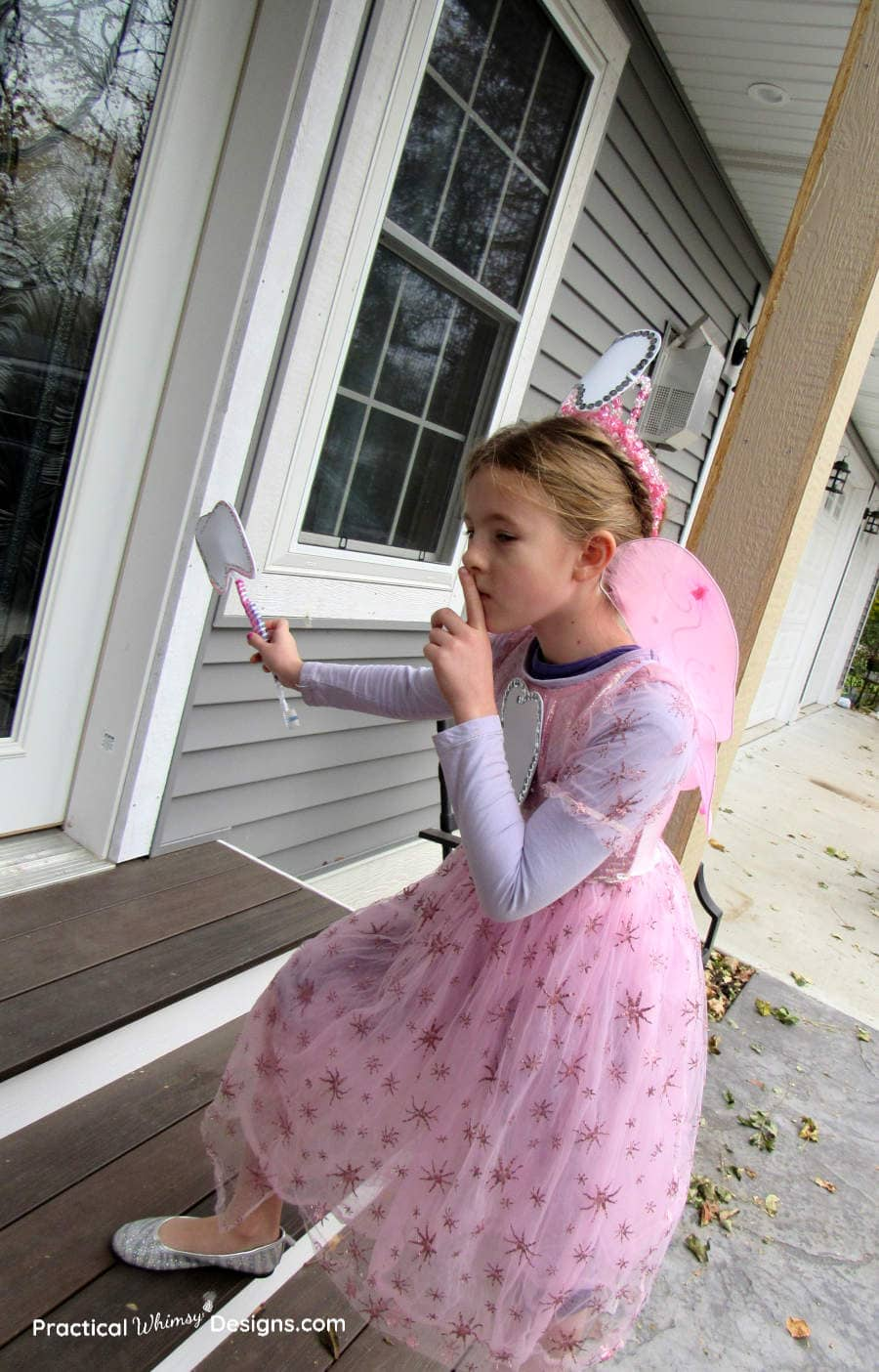 Tooth fairy sneaking up steps