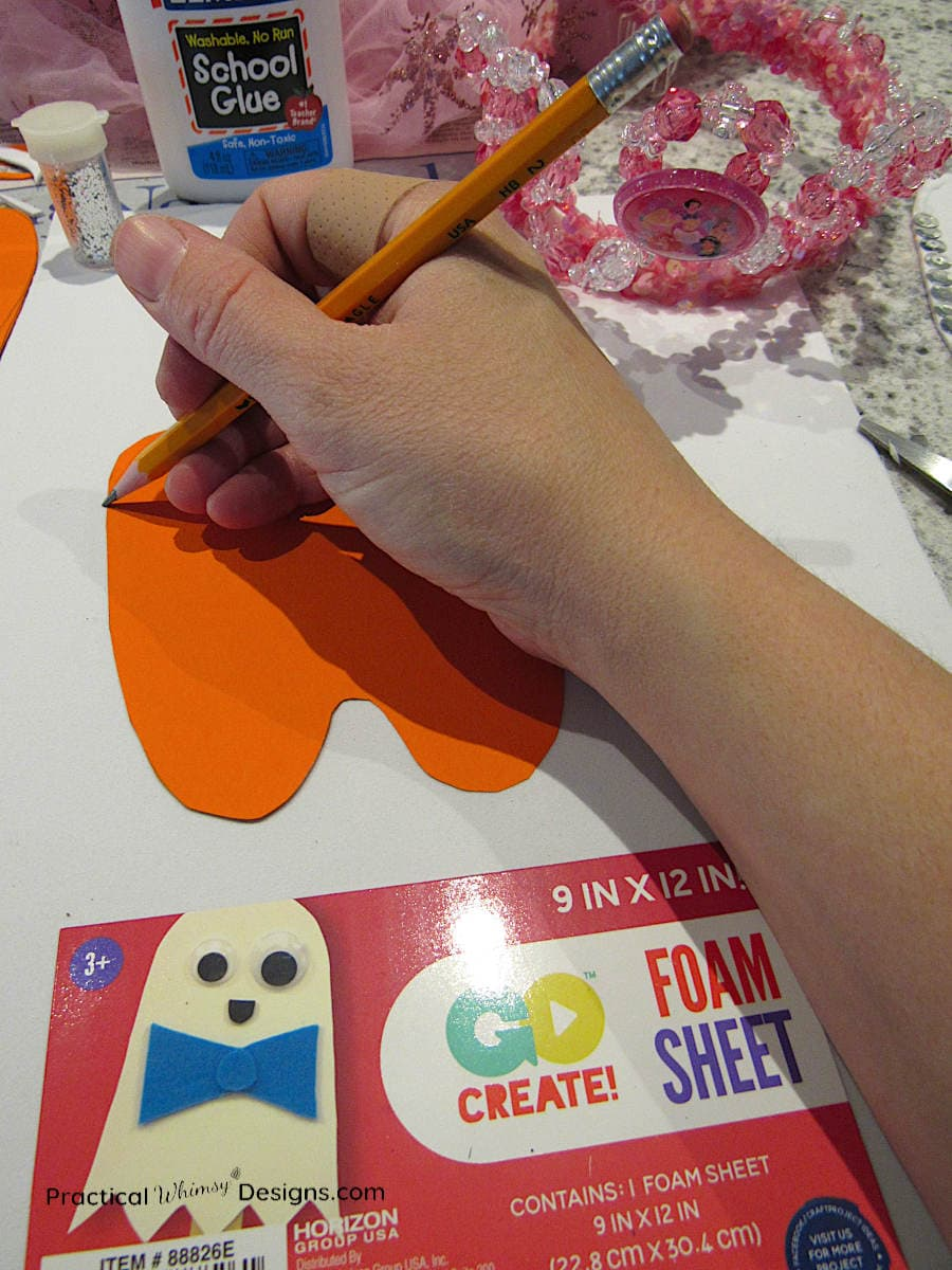 Tracing foam tooth for tooth fairy costume