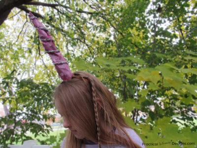 Girl wearing DIY unicorn horn