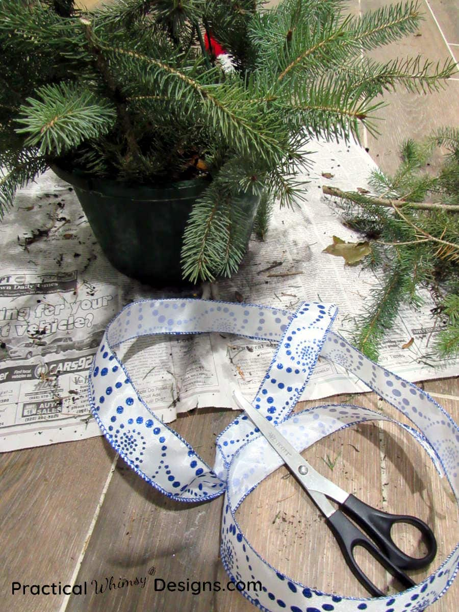 Pine basket with ribbon and scissors next to it