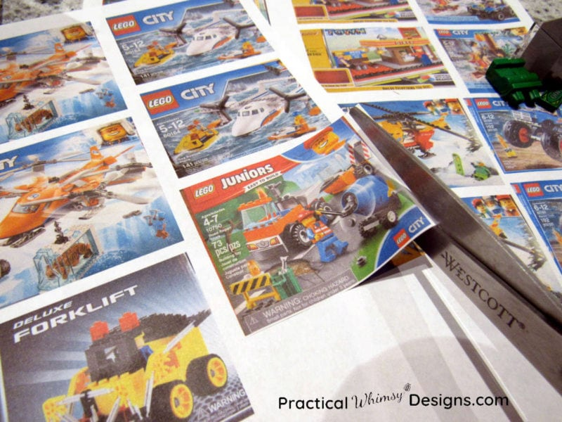 Cutting out labels to organize lego kits