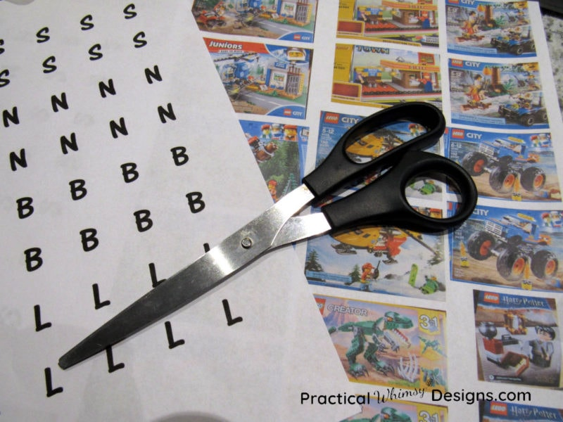 Lego labels and scissors