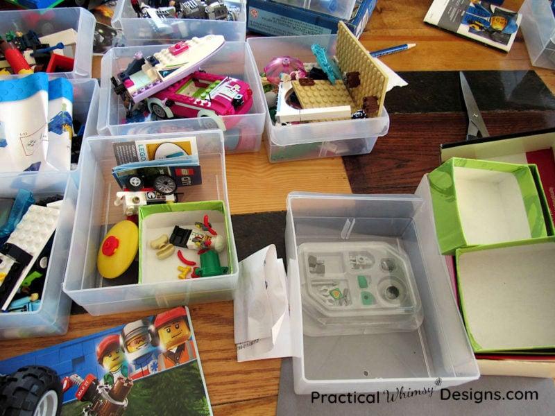 Organize lego kits in boxes