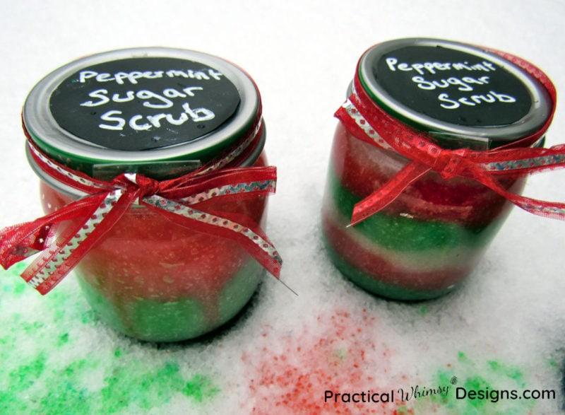 Two jars of peppermint sugar scrub