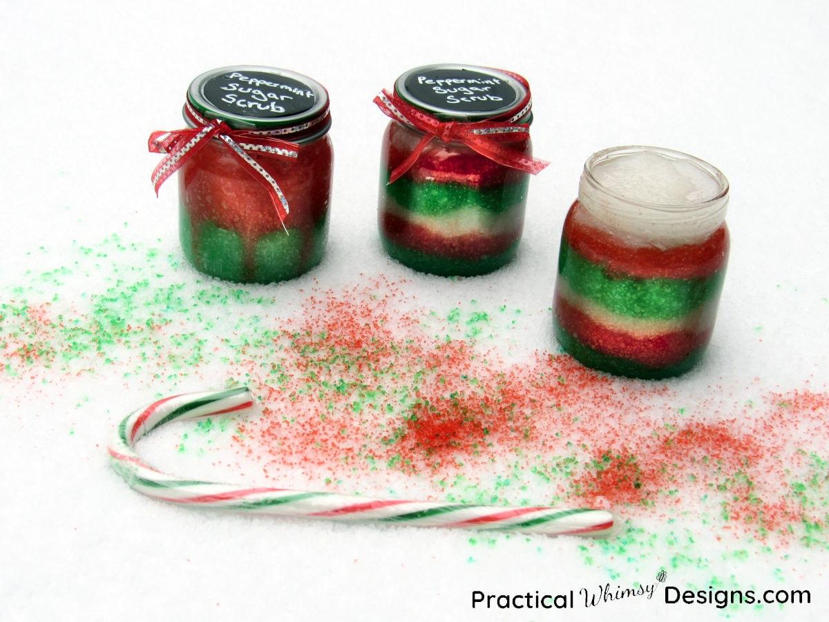 Jars of peppermint sugar scrub