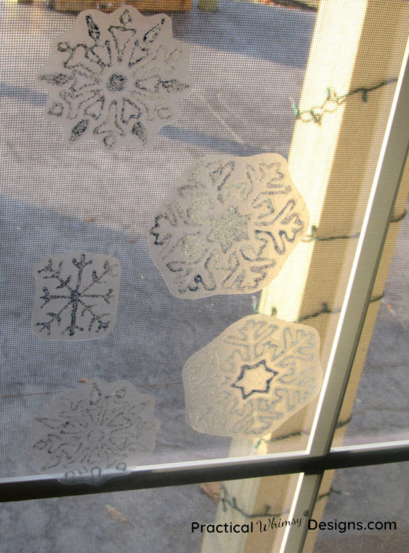 DIY snowflake window decal on window