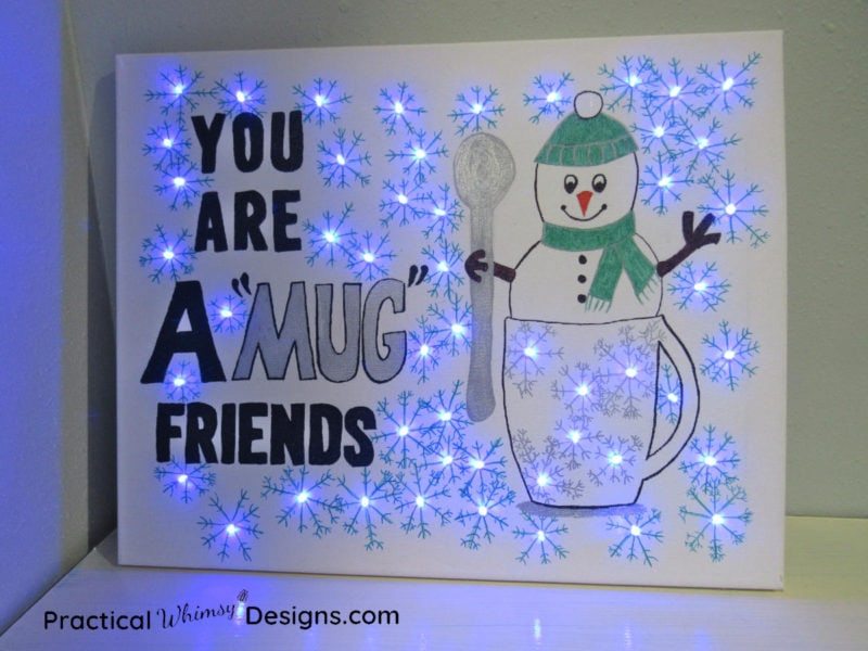 Snowman lighted canvas pictures