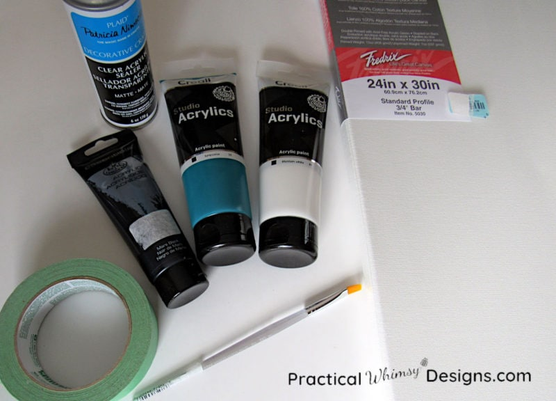 Supplies for birch tree painting