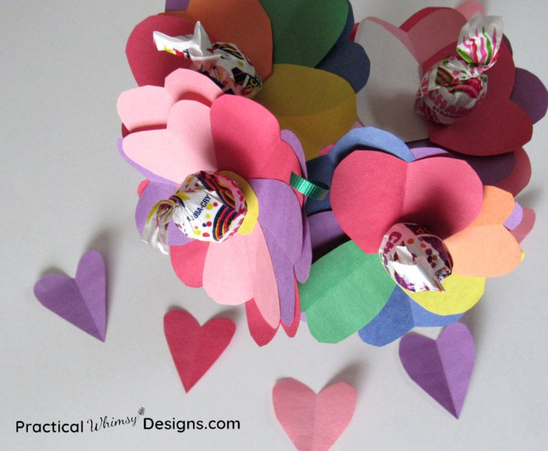 Colorful valentines card flowers