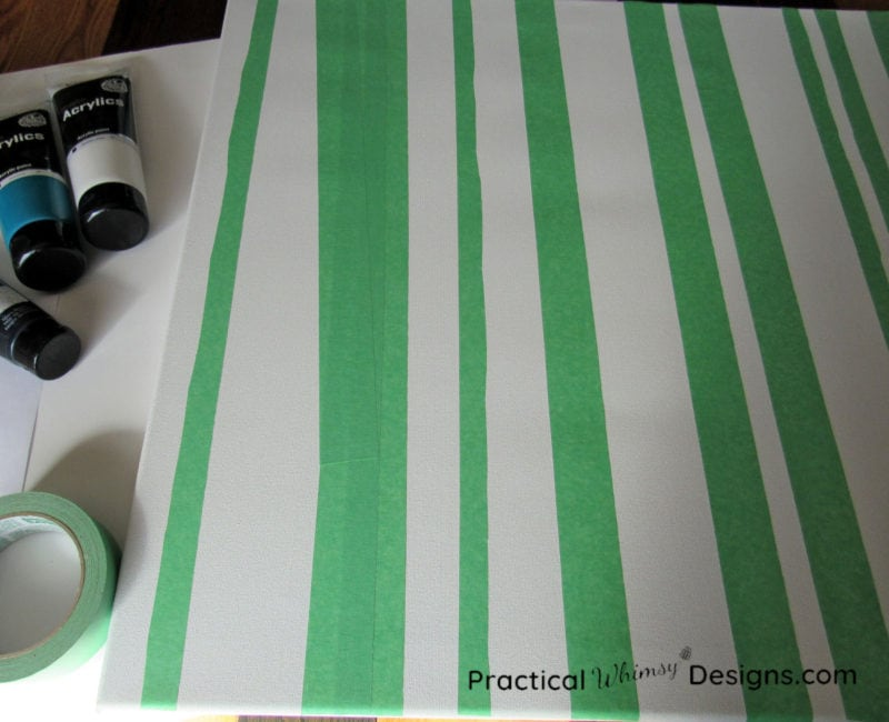 Painters tape on canvas for birch tree painting