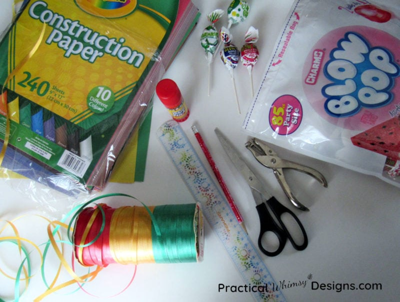 Craft supplies for making valentines card flowers