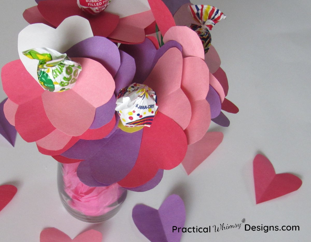 Valentines card flower vase