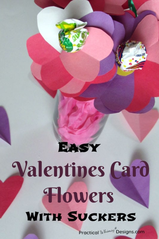 Easy Valentines Card Flowers with Suckers