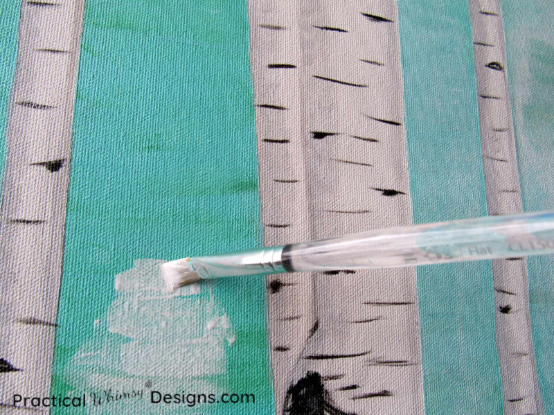 White washing birch tree painting with acrylic paint