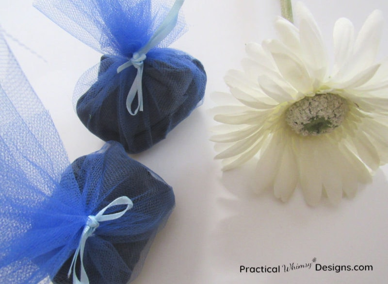 Blue DIY scent sachets with flower