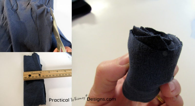 Steps for cutting and rolling t-shirt fabric