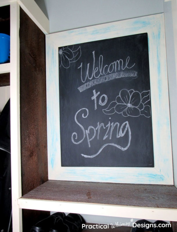 DIY Chalkboard Message Center with chalk message
