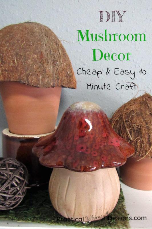 DIY Mushroom decor on shelf