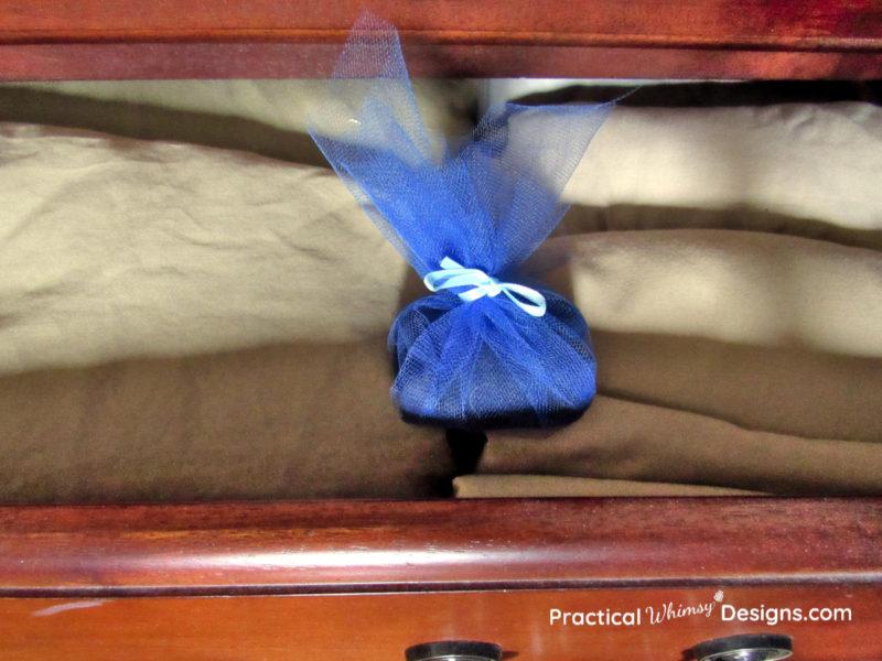 DIY scent sachet in drawer
