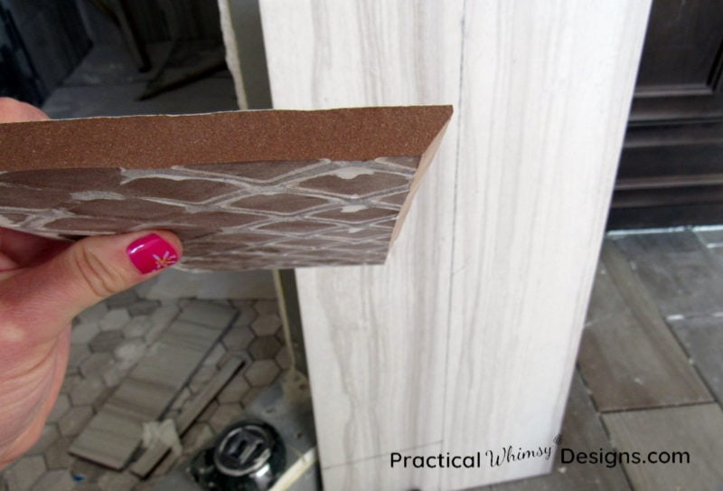 45 degree cut on the edge of a piece of tile
