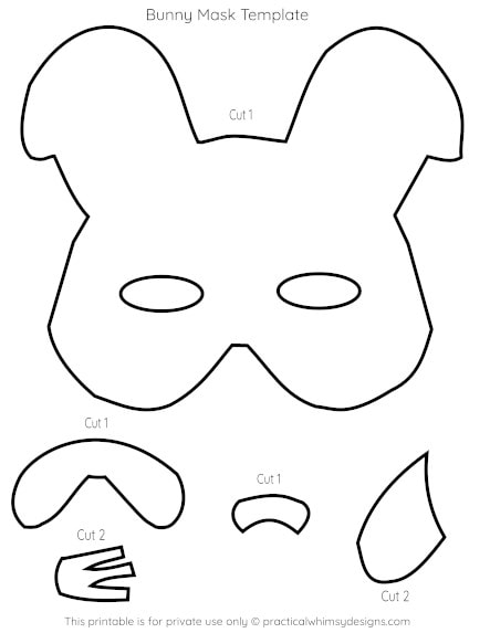 Bunny mask template printable