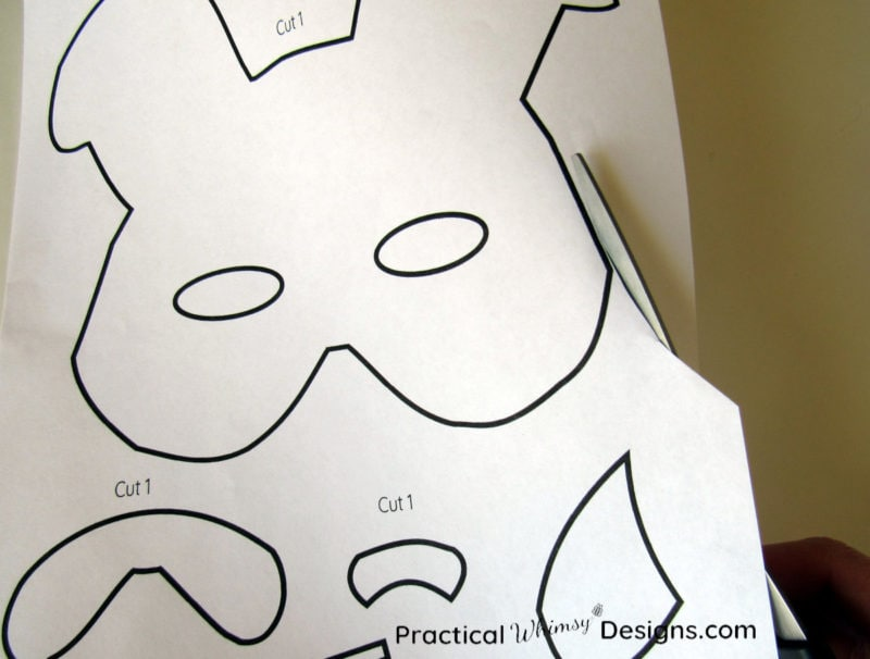 Cutting out bunny mask template