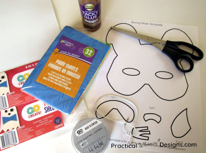 Craft supplies for making foam bunny masks