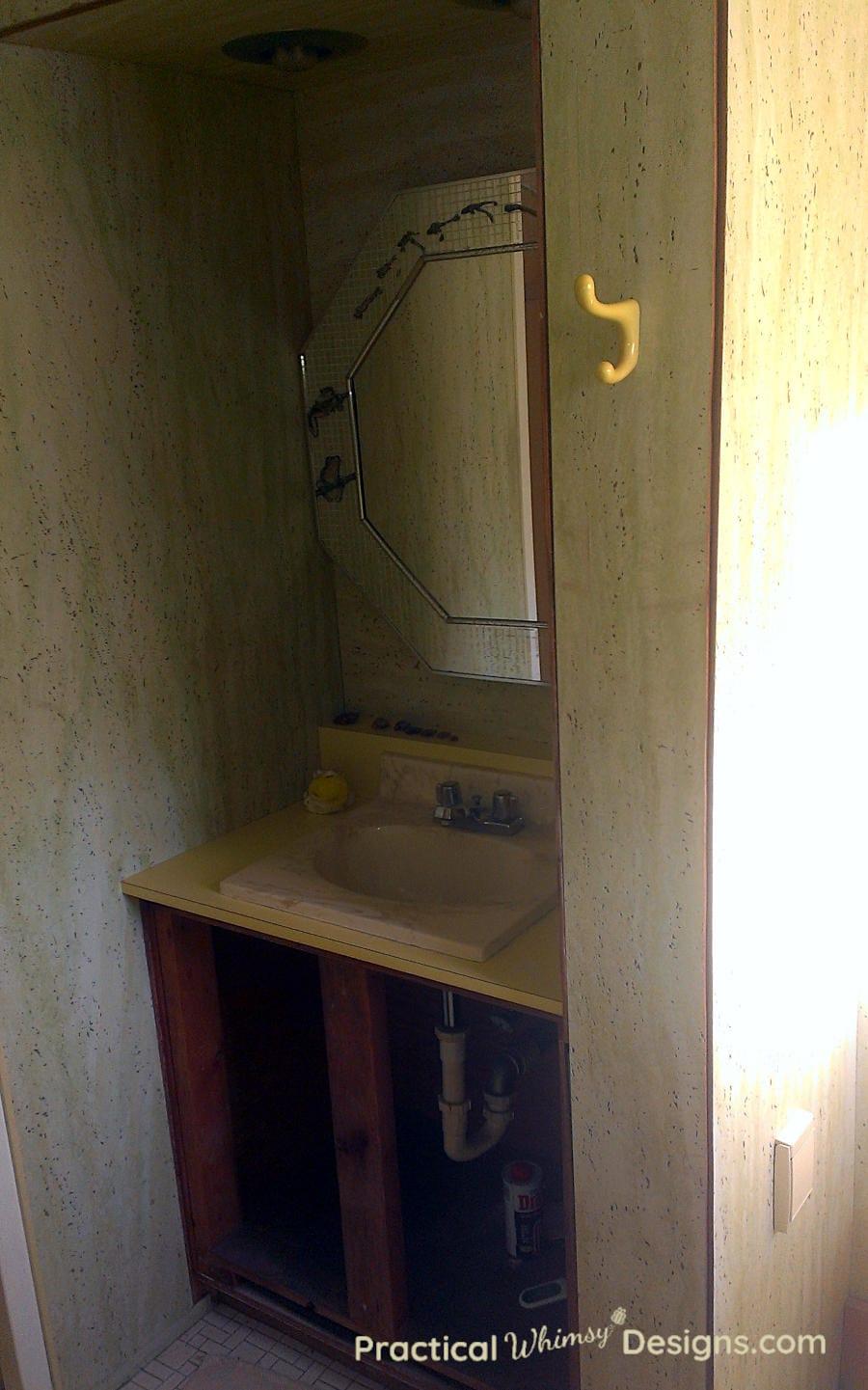 Master bathroom sink before remodel