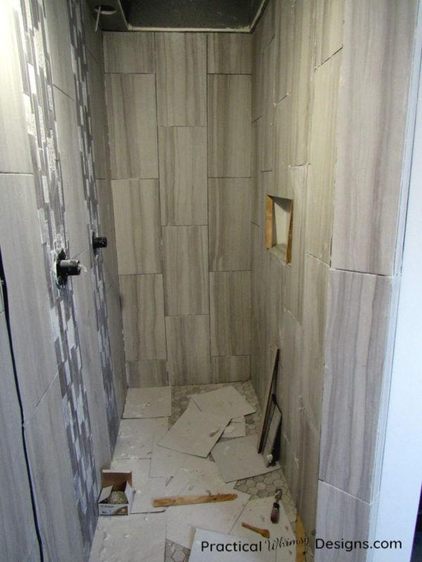 Tiled shower walls