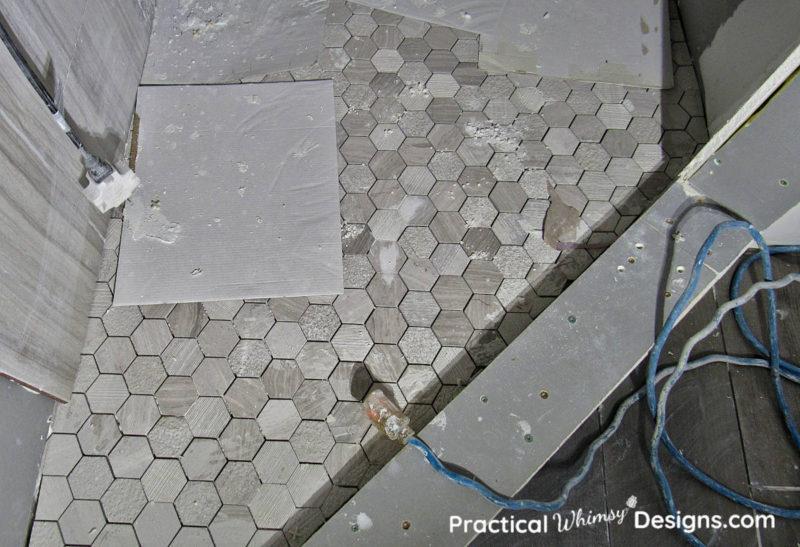 Hexagon shower floor tile