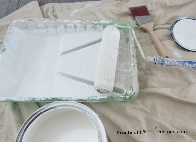 Paint tray, brush, and roller