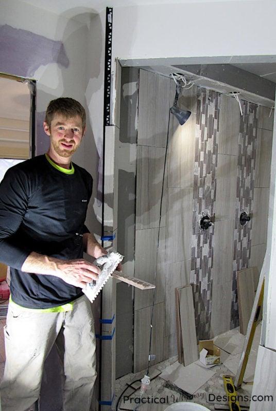 Tiling the master bathroom shower orc week 2