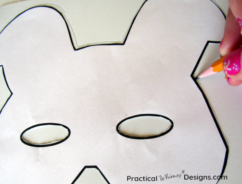 Tracing template onto foam