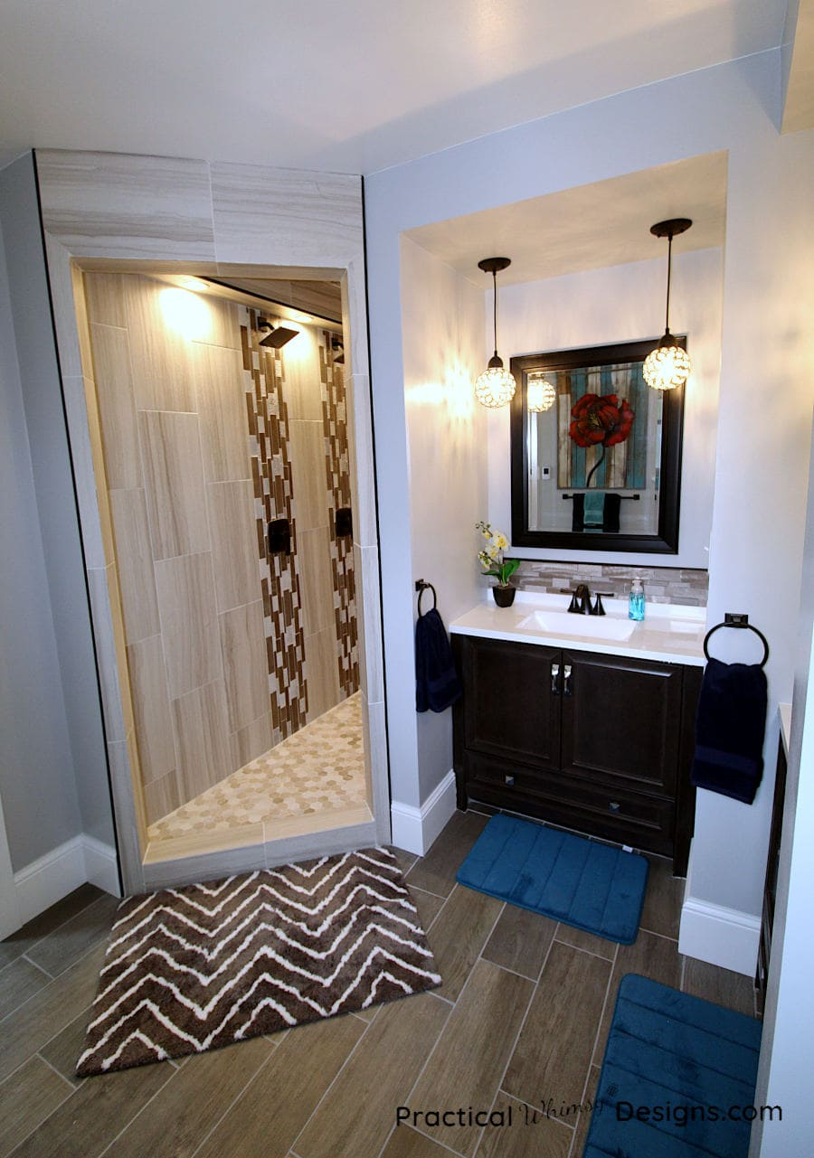 Master Bathroom Reveal of tile shower and sink