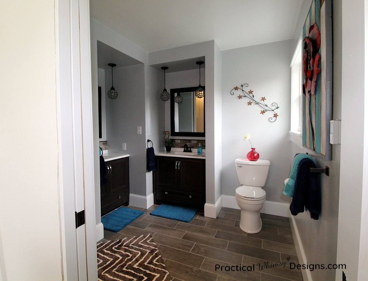 Master Bathroom Reveal with picture of sinks and toilet