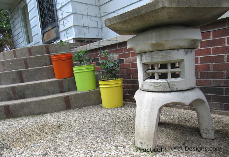5 gallon planters on stairs