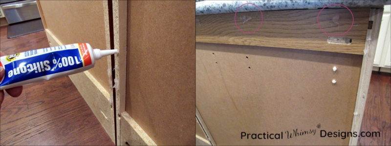 Applying silicone adhesive to cabinet